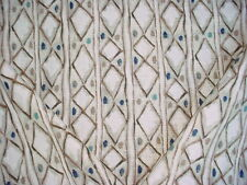 19+Y MICROFIBRES MPRESS SAPPHIRE ETHNIC PRINTED LINEN IKAT UPHOLSTERY FABRIC
