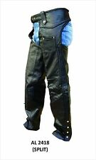 Unisex Black Leather Motorcycle Motorcycle Chaps W Braided Seams