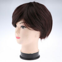 11'' Short Layered Straight Brown Pixie Cut Wigs with Bangs for White Women