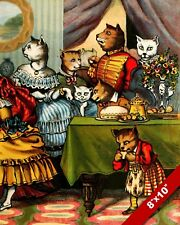 FANCY VICTORIAN ERA CAT DINNER TEA PARTY KITTEN ART PAINTING REAL CANVAS PRINT