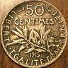 1915 FRANCE SILVER 50 CENTIMES COIN SEMEUSE PIÈCE EN ARGENT