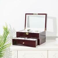 6 - 24 Slot MDF Watch Box Display Case Organizer Top Glass Jewelry Storage