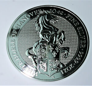 10 oz Queen's Beast White Horse of Hanover .999 fine silver