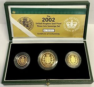 2002 Gold Proof Three Coin Sovereign Set, Queen Elizabeth II Golden Jubilee.