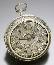 ANTIQUE SILVER REPOUSSE PAIR CASE VERGE FUSEE POCKET WATCH CA1730