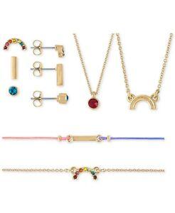 RACHEL Roy Rainbow Stud Earrings, Pendant Necklace & Bracelet 7 days Adornment
