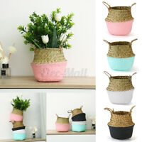 Folding Seagrass Belly Woven Basket Garden Flower Plant Pot Laundry Storage