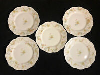 Lot of 5 Luncheon Plates Haviland Limoges Princess Pink Roses Blue Scroll 7-3/4""