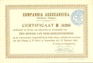 NIEDERLANDE 1910 COMPANHIA ASSUCAREIRA (Parahyba - Segipe) Versicherungs-Gründer