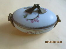 Vintage Oval Ceramic Trinket Box Floral Pattern With Lid Hallmark G620