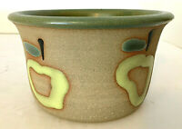 "Studio Art Pottery Apple Baker Tan w/ Green Interior 3""H 5"" diam Chop Mark EUC"