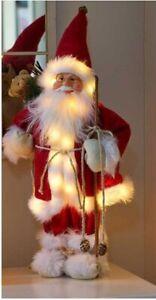 Xmas 40cm 22 LED INLIT Standing Santa Claus Father Christmas w Sack w TIMER