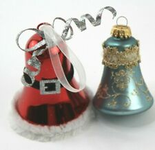 Lot of 2 Christmas Ornament Holiday Santa Bell Blue Red 1 Blown Glass One Metal