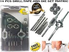 14 Pcs Screw Screwdriver Thread Tap and Die Set Tool Kit Metric