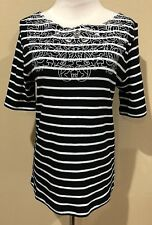 NWT Womens Black White Stripe Short Sleeve Rafaella Top Small
