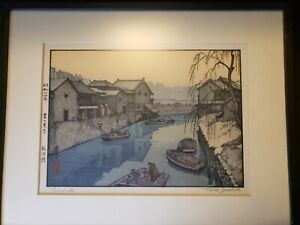 "Toshi Yoshida (1911-1995) Woodblock Print ""Iidabashi"" signed by artist framed"