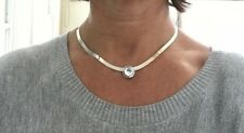 925 Sterling Silver Necklace w Round Clear Crystal Pendant signed CI Italy