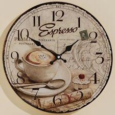 Wanduhr Glas Uhr Glasuhr Espresso Vintage Retro Landhausstil Kaffeehaus 34 cm