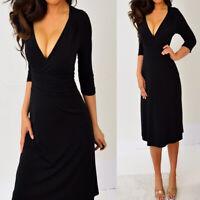 MERONA Black 3/4 Sleeve Ruch V Neck Knee Length Dress XS Extra Small