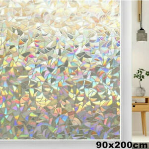 90x200cm Window Glass Film 3D Stained Static Frosted Rainbow Cling Sticker Decor