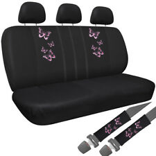 Car Seat Covers Pink Butterfly 8pc Bench for Auto w/Belt Pads/Head Rest Mesh