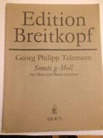 """G. Ph. Telemann : """" Sonate g-Moll """" für Oboe und Basso continuo"""