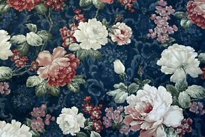 Richloom Navy Blue Multi Large Floral Upholstery Drapery Fabric 4.67 Yards