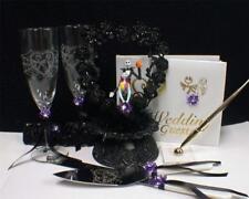 Nightmare before Christmas Wedding Cake topper Lot Glasses Server set Book PURPL