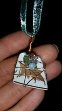 Broken China Jewelry Necklace Pendant Brown White Blue ribbon recycled wire-wrap