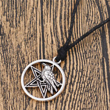 Vintage Wicca Triple Moon Pentagram Necklace Glass Tibet Silver Pendant Charms