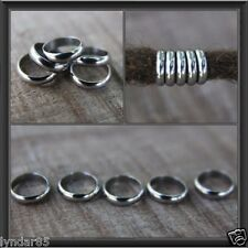 12 Stainless Steel Rings Dreadlock Beads 8mm Hole (5/16 Inch) Dread Hair Beads