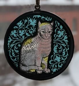 Sitting Cat, Glass Masters Stained Glass Suncatcher, Turquoise, Painted, Kitten