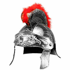 Medieval Armour King Spartan Roman Helmet Warrior Headwear w/Curved Red Crested