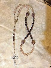 CRYSTAL ROSARY AMETHYST STONE & Lilac 8mm Czech , Ornate Crx HAND-MADE *NEW EP1