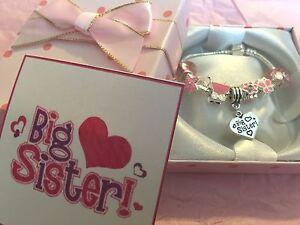 Girls big sister charm bracelet new baby gift for children in gift box Fast deli