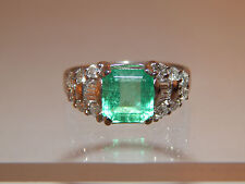 Large Exquisite 2.08 tcw Natural AAA+ Colombian Emerald Diamond G/SI Ring 14k WG