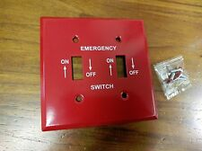 1 pc Red Metal EMERGENCY Furnace On Off Wall Plate Cover 2-Gang Toggle Switch