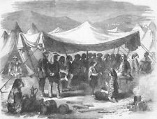 UKRAINE. Croats' Camp at Balaklava, antique print, 1855