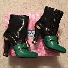 Prada Runway Patent Color Block Black Green Gold Buckle Ankle Boots Heels Sz 36