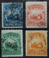 1863 Costa Rica; Serie Wappen gestempelt, MiNr. 1/4, ME 60,-
