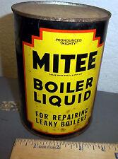 vintage Mitee boiler liquid tin can, full, for repairing leaky boilers