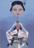 RARE Japanese Beauty Fantasy girl in dress by Balashko Russian modern postcard