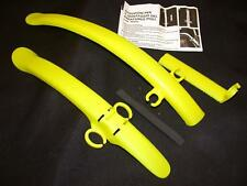 PAIR TRENDY YELLOW CLIP ON CLIP OFF BIKE MUDGUARDS SUIT RACING ROAD BIKES, RACER