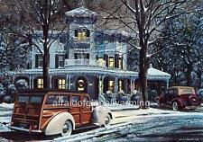 Old Print.  Christmas - 1940 Packard Wagon & 1936 Ford Phaeton Autos