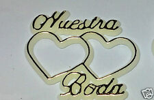 48 Plastic Cake Topper Nuestra Boda 2 Hearts White with Gold Favor Decorations