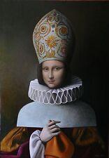 Original De Antonio Sciacca Pintura Al Óleo Mona Lisa Monnalisa Papessa Metamorfosis