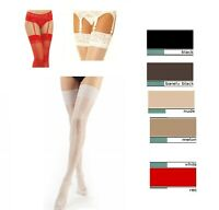 Super Gloss Bridal Luxury  Hi Shine Stockings Lace or Plain  Top  O/S  L-Xl- Kp