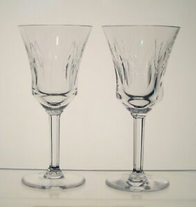 "VAL ST LAMBERT CRYSTAL Wine Glasses 6"", Hex Stem, SET of 2 BIRKS CRYSTAL, CP1248"