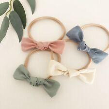 4 x Bow Headband Packs Sage Pink Cream Ivory Blue Baby Girl Newborn Nylon Green