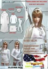 "1/6 White leather coat skirt set stockings For 12"" Female Figure hot toys ❶USA❶"